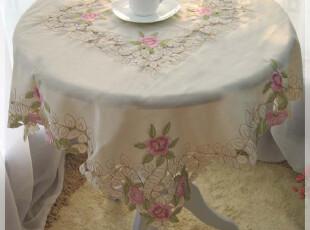 青眉 精美彩色镂空绣 竹节纱 冰箱茶几床头柜桌布 85*85  万能盖,桌布,