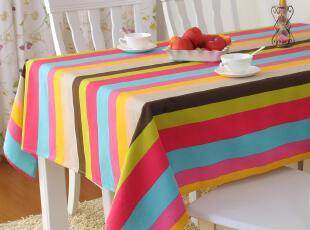 餐桌布布艺田园 现代桌布台布茶几布 纯棉茶几桌布 彩色条纹,桌布,