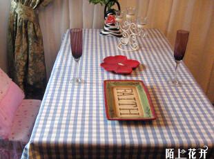 陌上花开 现代简约/田园乡村棉麻丽贝卡蓝格成品桌布桌旗餐垫定制,桌布,