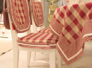 【咖啡因的糖】出口英伦红格子餐桌布/餐椅套椅垫/坐垫/茶几布,桌布,
