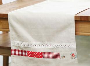 「GUIA'S」素麻红拼布桌旗,桌布,