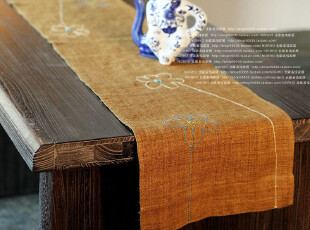 /和风夏布,天然织物系列/手工麻布刺绣桌旗,玉匣春,桌布,