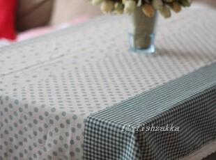 素雅绿色棉麻 碎花格子水玉 仿拼布 韩式桌布 多尺寸,桌布,