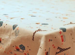 欧式 童年乐趣 铁塔 全棉餐桌布艺茶几布桌台布万能盖布巾,桌布,