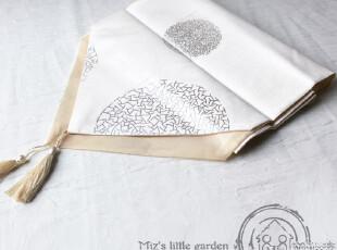 米子家居家居布艺桌布餐布盖布盖巾 烫银点塑花桌旗 35*180cm,桌布,