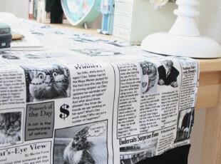 『韩国网站代购』家有小猫 设计感主题报纸桌巾,桌布,