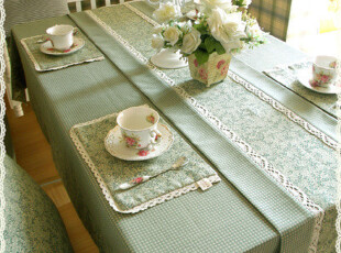 美式乡村田园 复古 布艺桌布台布餐桌布盖布茶几布灰绿色,桌布,