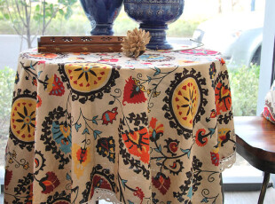包邮特价欧式复古奢华布艺棉麻圆桌西餐桌花边桌布台布盖布茶几布,桌布,