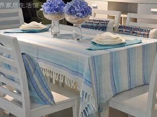 桌布台布餐桌布地中海风格桌布茶几布沙发布田园风格桌布蓝色条纹,桌布,
