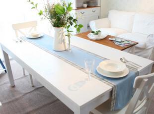 地中海风格蓝 色织布料双层格子桌旗/桌条/床旗/台布/茶几布,桌布,