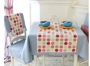 在韩国定做 田园天空蓝圆点桌布餐桌布 套装 可定做,桌布,