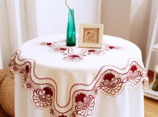 6733*品味生活~红色绣花 欧式 餐桌布 布艺 茶几台布 圆桌桌布,桌布,