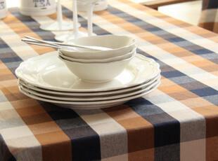 地中海 棉麻色织 格子桌布/台布/餐桌布/盖布/桌旗 骑士系列,桌布,