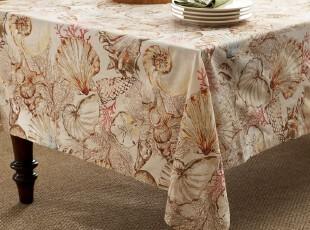 【纽约下城公园】五彩深海贝壳棉麻桌布/桌旗(2种尺寸),桌布,