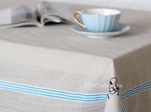 本色 棉麻 蓝色条纹裙边 烫画 zakka muji 风格桌布,桌布,