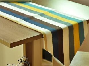 笑笑家居 夏季新品 帆布布艺桌布 条纹桌旗 防烫耐热桌垫 可定做,桌布,