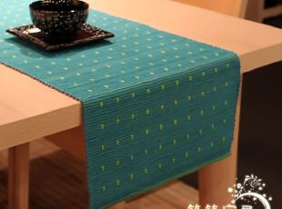 最新订单 蓝绿 双面用密织桌旗 翻一翻 又一种心情35*200,桌布,