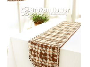 外贸全棉欧式英伦田园线编织纯棉餐桌垫桌旗餐垫组合咖啡格,桌布,