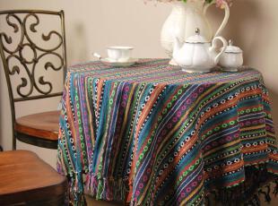 花样时光! 藏风纯棉粗布蓝底绿点条纹桌布1.80m,桌布,