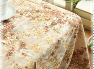 华贵奢华欧式宫廷花草精美提印天然棉麻钩花花边桌布台布盖布,桌布,