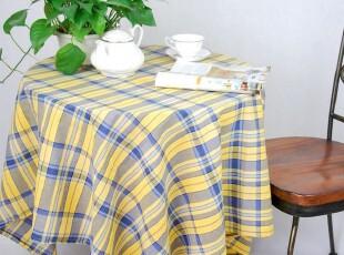 花样时光 格子系列外贸桌布蓝黄格子台布桌布餐桌布1.4m,桌布,