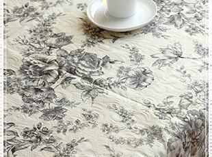 奢华金丝精致提绣欧式宫廷手绘花草全棉钩花花边桌布台布盖布,桌布,