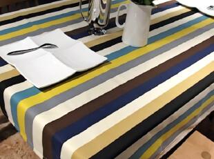 夏季新款简约纯棉布艺条纹桌布隔热桌垫台布茶几布餐桌布 可定做,桌布,