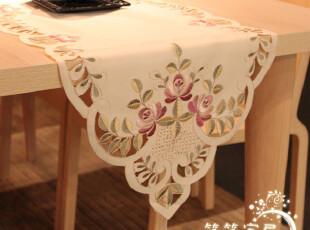 法式浪漫中国风情之刺绣紫花 桌旗|茶几垫|餐布|带穗头~~,桌布,