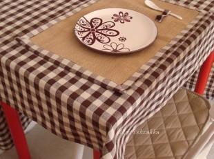 咖啡方格亚麻棉 桌布 zakka muji风格 2规格 可定制,桌布,