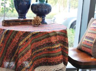 高档棉麻桌布台布蕾丝 布艺餐桌布 圆桌布 茶几布东南亚风情1.4M,桌布,
