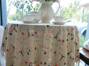 花样时光! 悠闲小铁塔棉麻桌布1.85m,桌布,