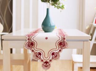 6733 品味生活~红色绣花 桌旗欧式 桌旗 时尚 简约 桌布桌旗 2012,桌布,