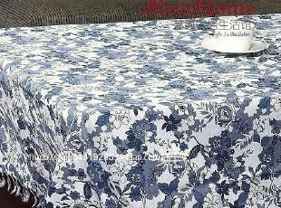 艺典家居 时尚家居 全棉 桌布 台布 餐桌 布 135cm宽 蓝白江南,桌布,