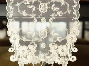 韩国正品代购 精美花蔓吊珠蕾丝台布装饰蕾丝桌旗 茶几垫,桌布,