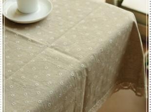 清新甜美田园风欧式精致白雏菊印花全棉钩花花边桌布台布盖布,桌布,