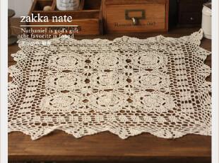 zakka杂货 全棉手工钩花餐垫 桌布 方巾 家居装饰 55cm,桌布,