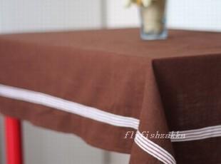 咖啡色 棉麻 条纹裙边 zakka muji 风格桌布,桌布,