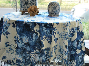 花样时光!中国风中式古典水墨蓝花.流苏蓝全棉桌布1.85m,桌布,