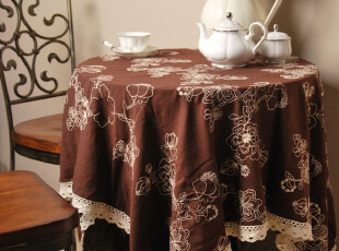 花样时光!日式良品棉麻白线绣花栗色桌布1.8m,桌布,