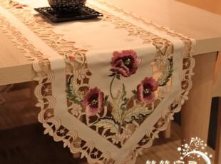 法式浪漫之~牡丹手工刺绣桌旗/刺绣镂空桌旗/餐桌旗 多尺寸,桌布,