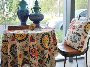 棉麻桌布台布蕾丝田园布艺餐桌布 圆桌布 茶几布异域风情,桌布,