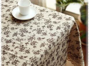 玫瑰  提花 天然棉麻 钩花花边桌布台布盖布,桌布,