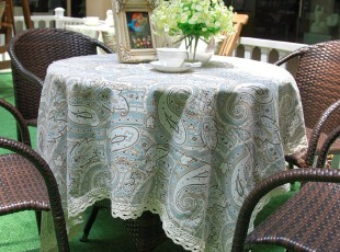 花样时光! 清新凤尾涤棉桌布餐桌布1.4m,桌布,