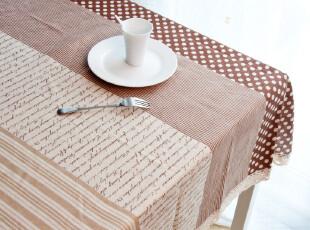 田园布艺亚麻桌布|台布| 餐桌布|茶几布|英伦文字 三色入 可定做,桌布,