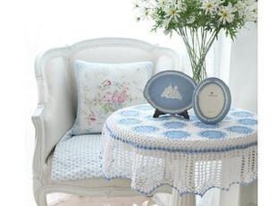 韩国进口田园布艺 蓝色海洋小圆桌桌布,桌布,
