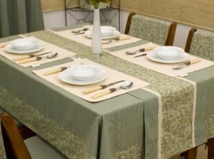 美式田园/乡村 布艺桌布/台布/餐桌布/盖布/茶几布灰绿,桌布,