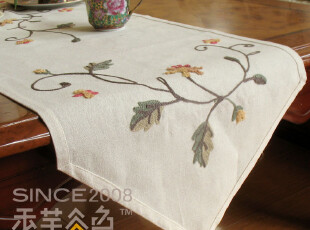 A83 棉麻田园刺绣 时尚 桌旗 欧式 桌布 绣花叶子盖布 布艺 外贸,桌布,