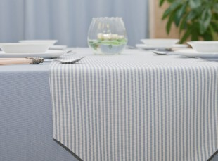 Evert 双层布艺 餐桌桌旗/桌条/桌垫/床旗粉/灰蓝 不含桌布台布,桌布,