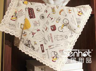 senhot 旅行少女棉麻桌布/台布/多用布 田园餐桌布/盖巾/茶几巾,桌布,