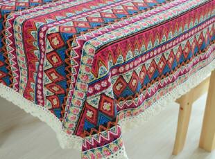 新款 东南亚风 棉麻布艺桌布 餐桌布 台布 茶几布 盖布 民族风,桌布,